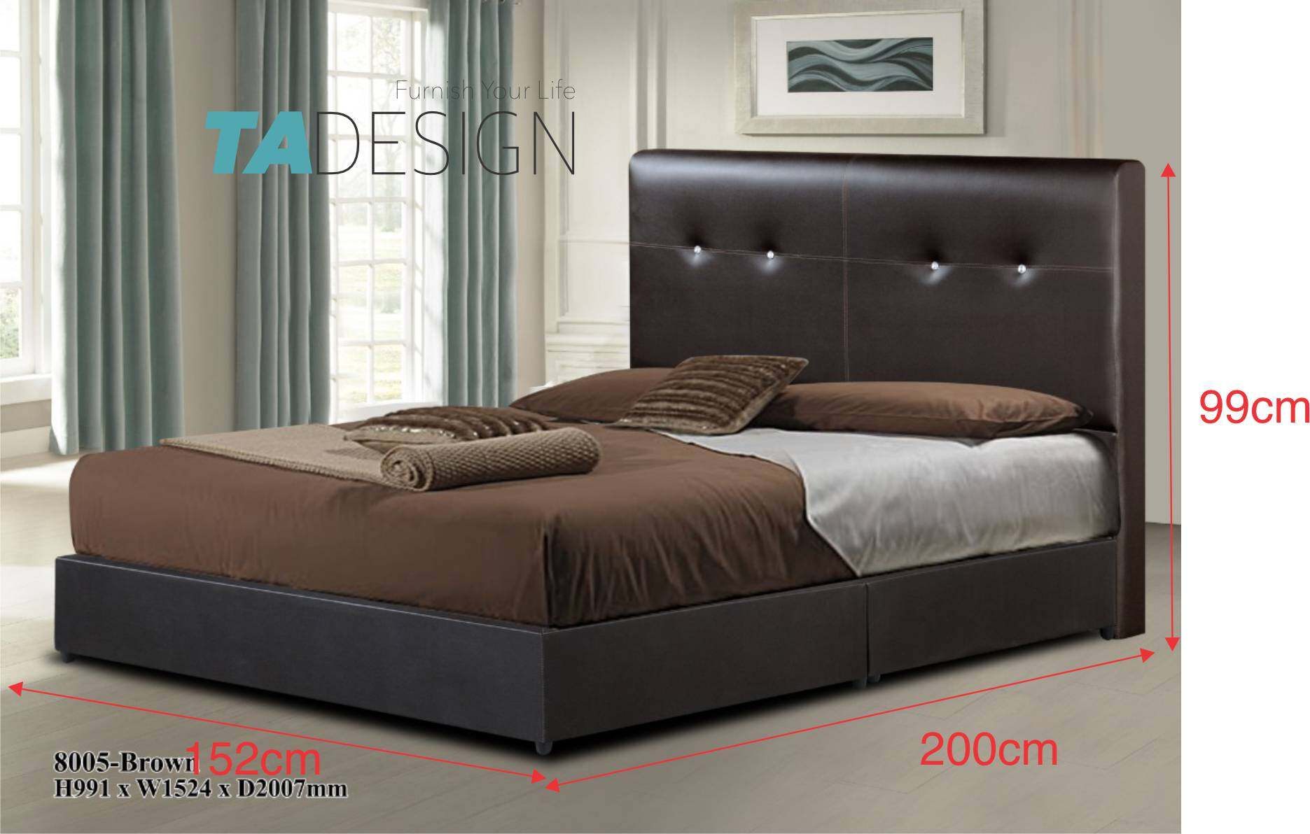 DIVAN waterproof PVC divan king bed frame-dark brown 8005 King