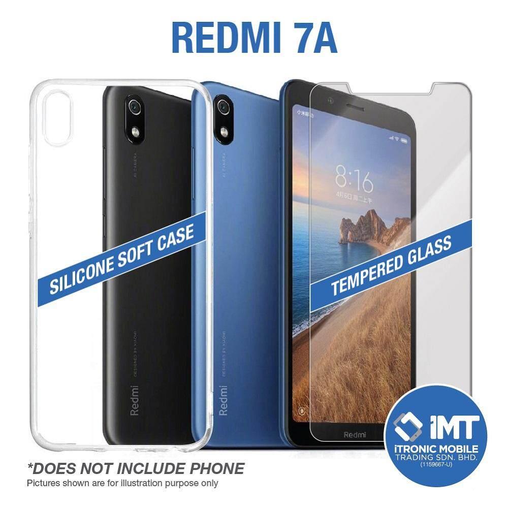 Silicone Soft Case & Tempered Glass for XiaoMi Redmi 7A