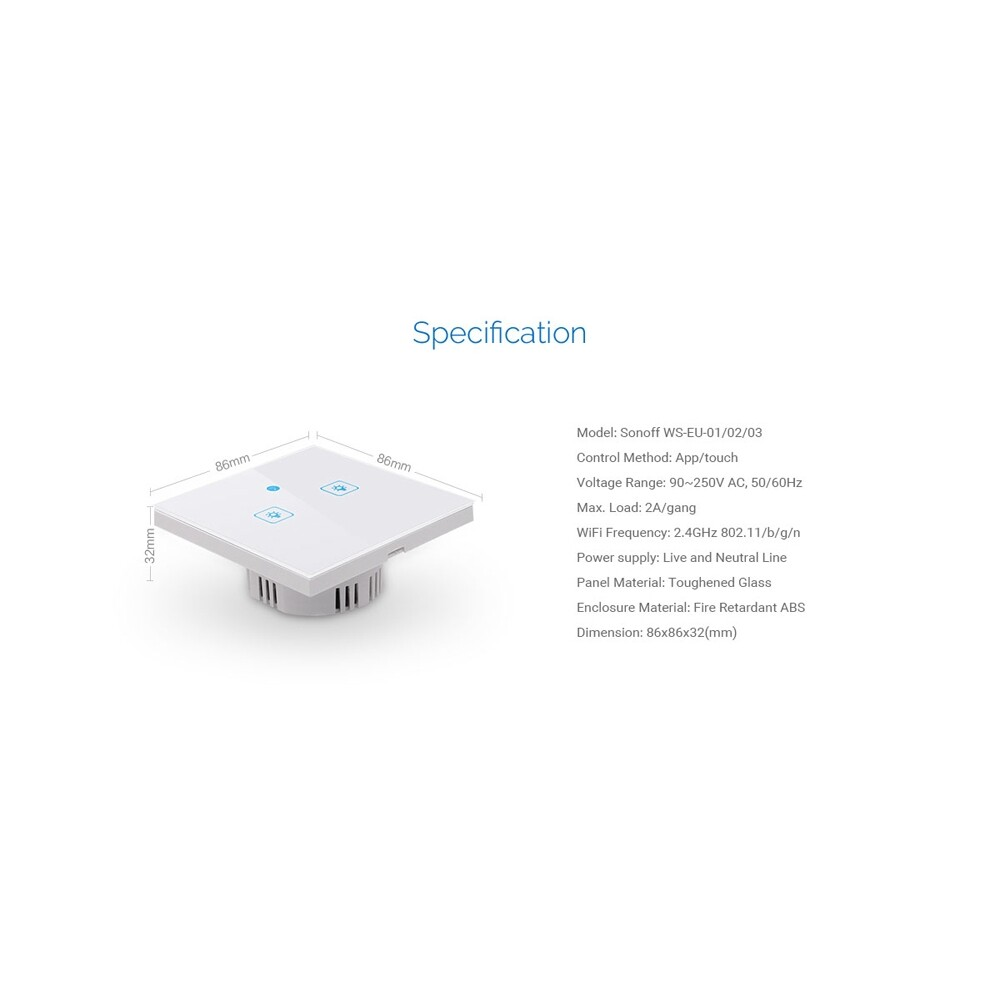 Plugs & Adapters - AC90-250V 2A/400W EU Standard 1/2/3 Gang WIFI Touch Wall Switch - 1 GANG / 3GANG / 2 GANG