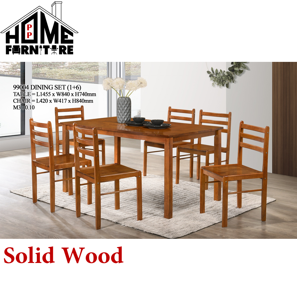 PP HOME Dining set modern (1 Dining Solid Wood Table + 6 Solid Wood Dining Chair)/Wooden Dining table set for 6/ Eating table/Dinner table set/Dinning table/ Kitchen table/  Set Meja makan 6 kerusi/ 六人实木餐桌/ 餐桌椅99003 1/2