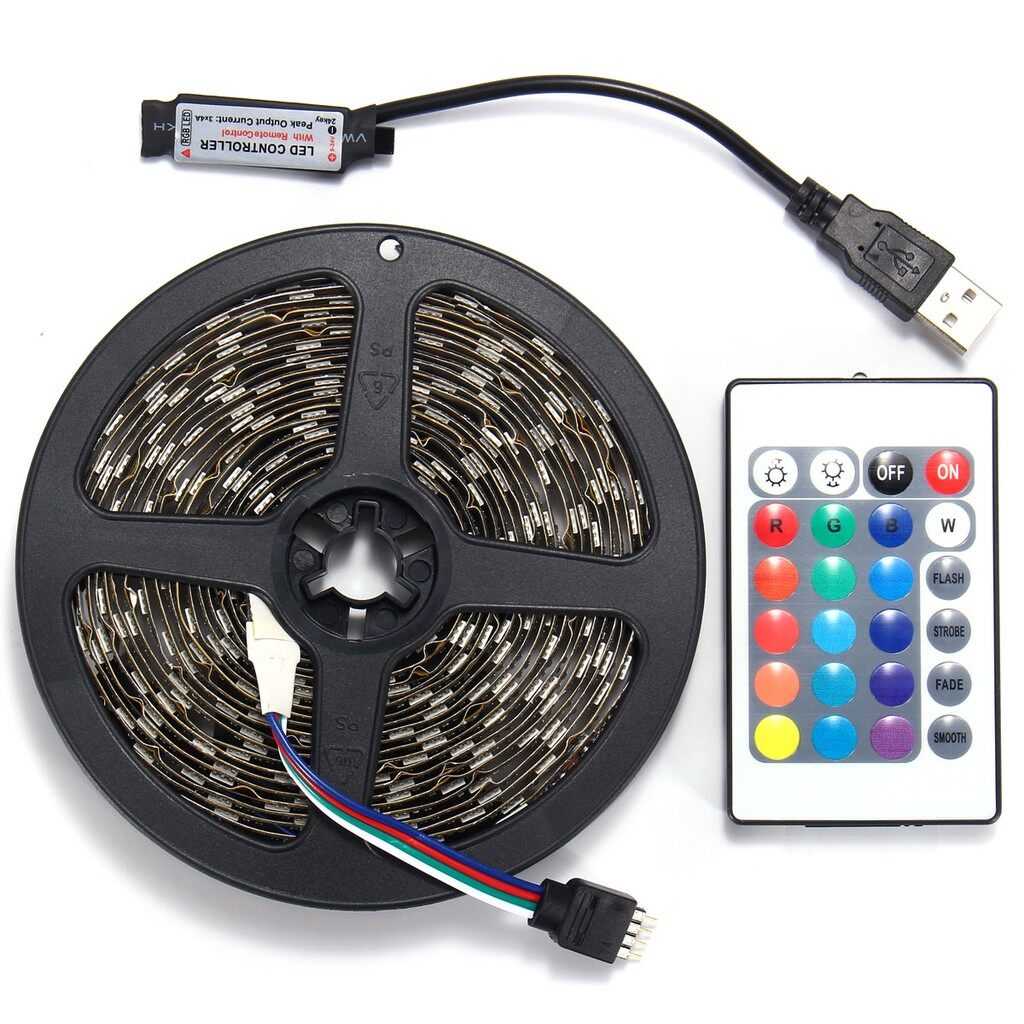 USB Light - 5V USB LED Fairy Strip Lights RGB SMD PC Computer TV Back Lighting Controller - 5M / 4M / 3M / 2M / 1M / 0.5M