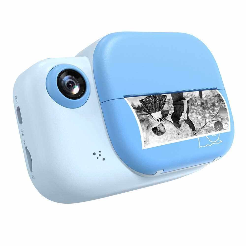 Kids Instant Print Camera 3.0 Inch Large Screen 1080P 12MP Digital Video Camera with Print Paper Roll Hanging Rope for Children Boys Girls (Blue)