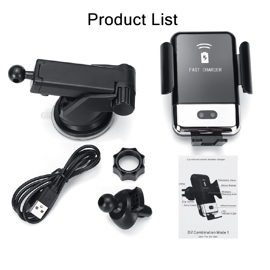 Chargers - 10W Infrared Automatic Clamping Car QI WIRELESS Charger Phone Holder Mount - Cables