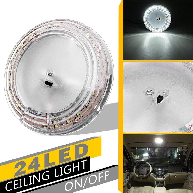 Car Lights - 12V White Car Van Bus Interior Ceiling Dome Roof Light Lamp Bulb Kit Oval 24 LED - Replacement Parts