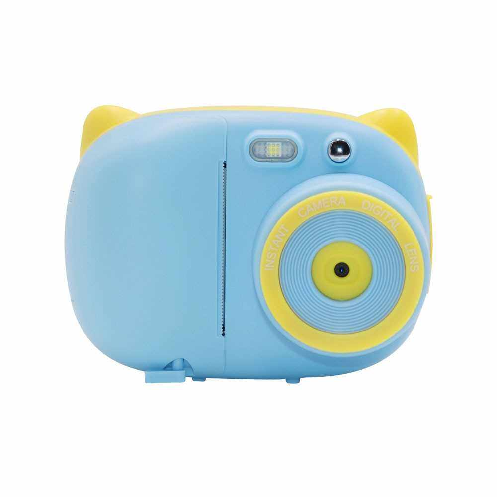 Mini Cute Cartoon Children Video Camera Camcorder Photo Printing 15 Mega Pixels 1080P with 2.4 Inch TFT IPS Screen Flash Mode Support WiFi Connection Instant Printing Sharing Gifts for Children Kids Students (Blue)