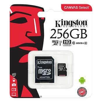 Kingston Canvas Select 256GB 80MB/S Micro SDXC Class 10 UHS-I Memory Card