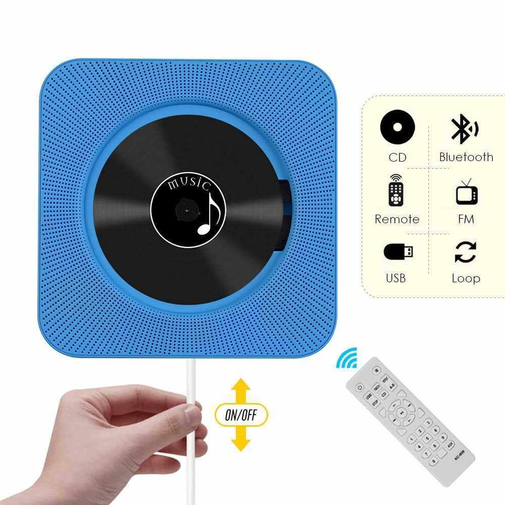 Portable Wall Mounted CD Player Music Amplifier Audio Boombox with Remote Control Support BT/ USB/ FM Modes Blue EU Plug (Blue)