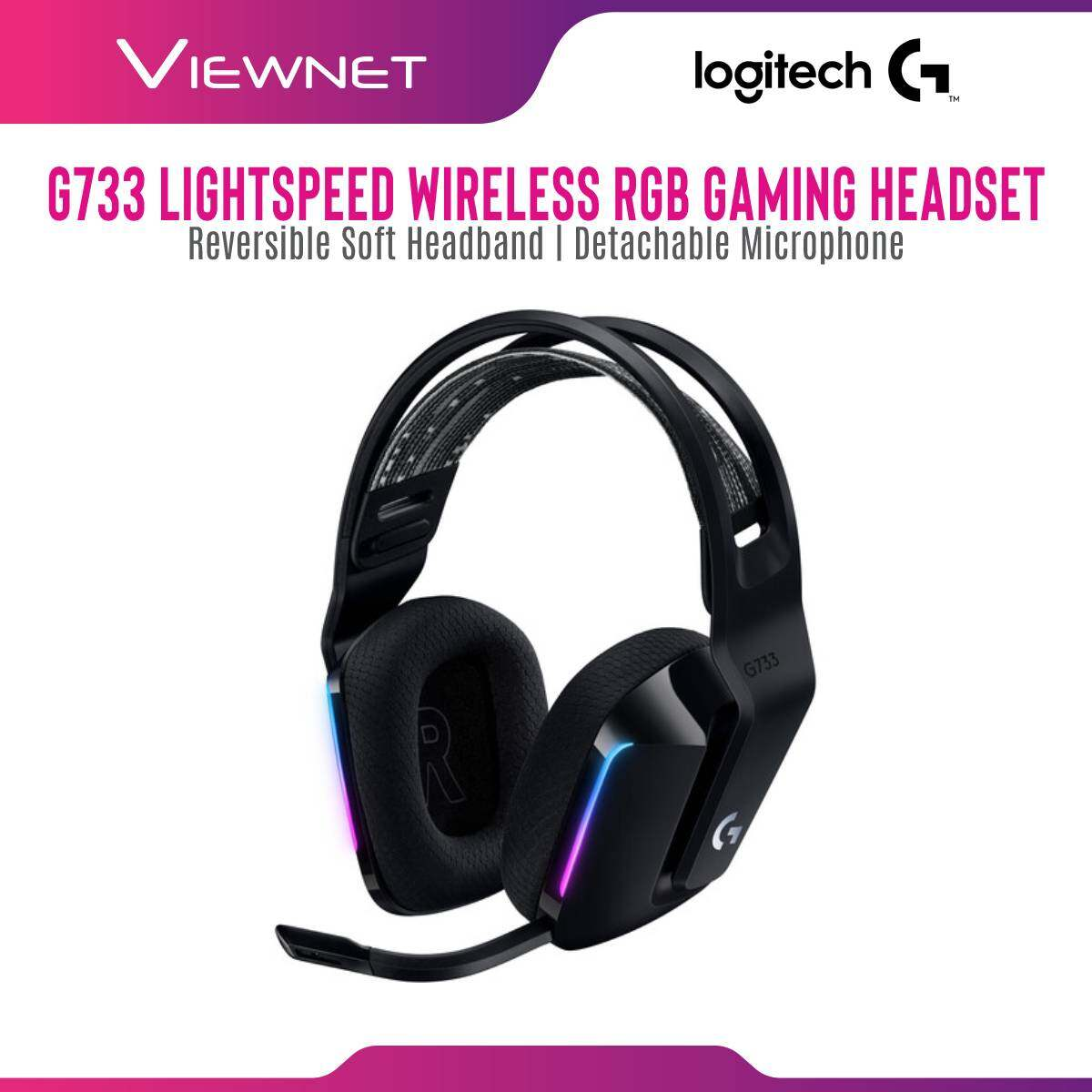 Logitech G733 Lightspeed Wireless RGB Gaming Headset with Lightspeed Wireless Technology, Lightsync RGB, Ultra Lightweight, Detachable Microphone, Pro-G 40mm Driver, Logitech G Hub Software Support