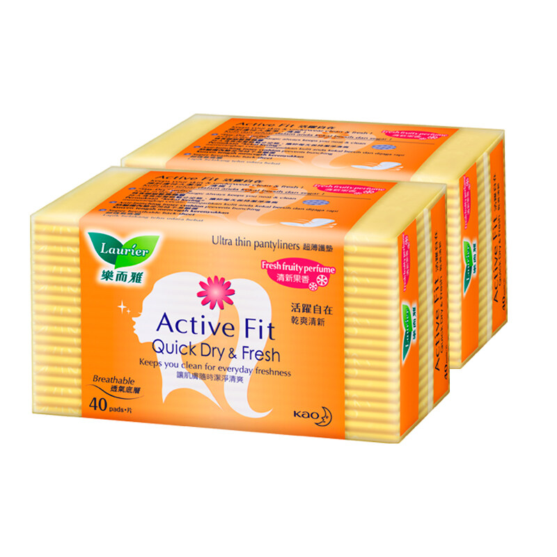 Laurier Active Fit Fresh Fruity Perfume Pantyliners Twin Pack - (40's)