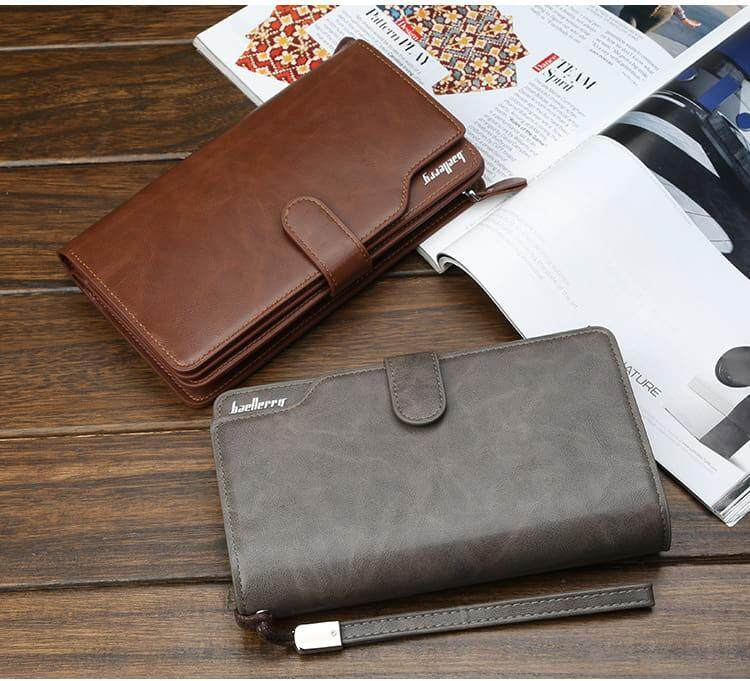 [M'sia Warehouse Direct] 2019 Korean Series Men's Leather Clutch Bag With String Fengshui Long Wallet Can Fit Iphone Any Android Mobile Long Purse Perfect Gift For Husband And Father Multifunctional Portable Bag Card Holder Dompet Panjang Kulit Halal