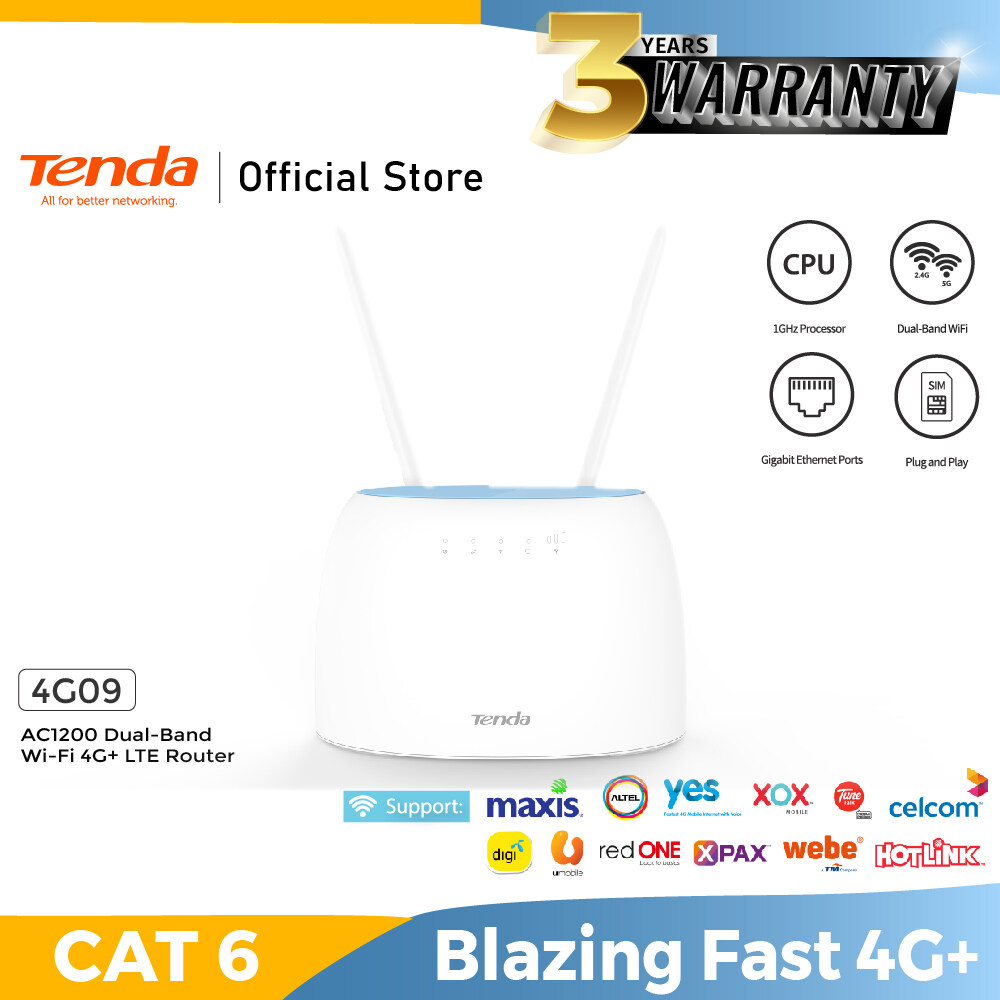 Tenda 4G09 AC1200 Dual-Band Wi-Fi 4G+ LTE Router - Supports Maxis Celcom Digi SIM Cards 4G Hotspot -Fast Speed-Plug and Play-MCMC SIRIM Certified