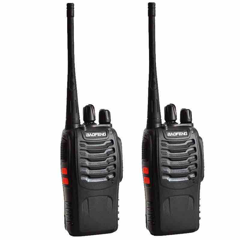 Walkie Talkie 5km Radius BaoFeng 888S-2pcs Range 16CH UHF 400-470Mhz Two Way Radio with Earpiece Portable Radio Station Set Handhold Waterproof Transceiver (2 Pack)