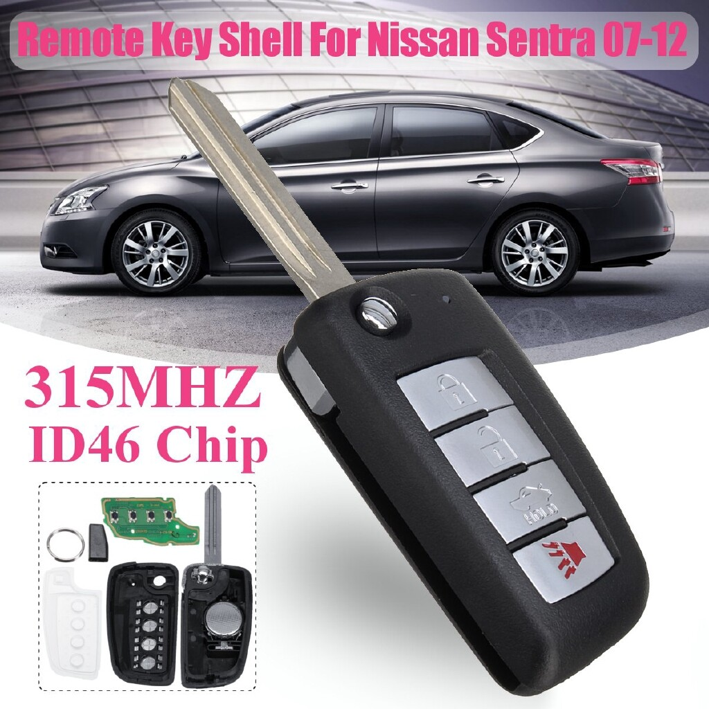 Automotive Tools & Equipment - 4 Buttons Fob Remote Key Shell Cover+ID46 Chip 315MHZ For Nissan Sentra 2007-12 - Car Replacement Parts