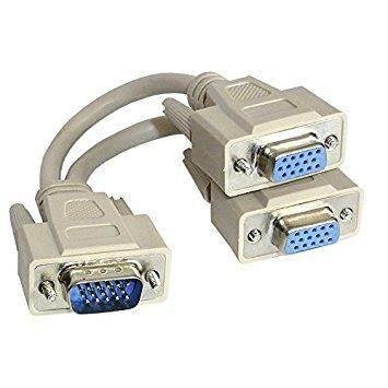 VGA/RGB Male to 2 x Y Splitter Female Cable 15cm