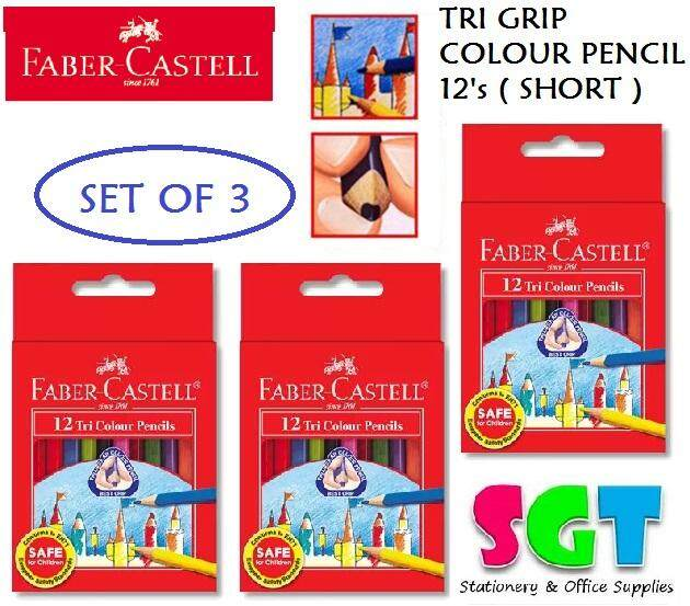 Faber-Castell Tri Grip Color Pencils Half Length (12 Colors) (Set of 3)