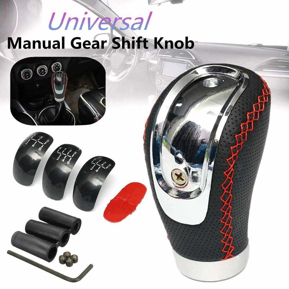 5 6 Speed Black PU Leather Manual Car Gear Shift Knob Shifter Lever Handle Stick Universal with 3 Caps (Black)