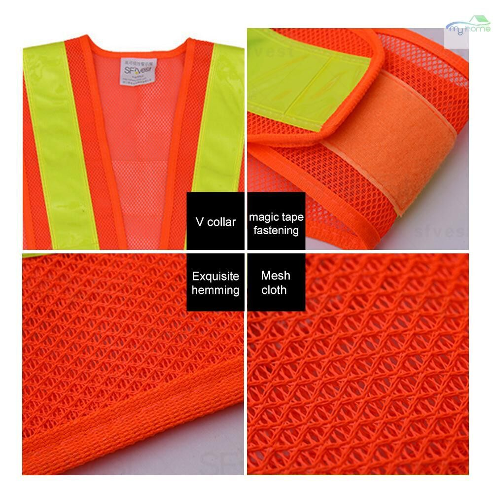 Protective Clothing & Equipment - SFVest High Visibility Reflective Vest Reflective Safety Strap Vests Workwear Security Working - BLACK & WHITE / BLACK & YELLOW / ORANGE & YELLOW / YELLOW