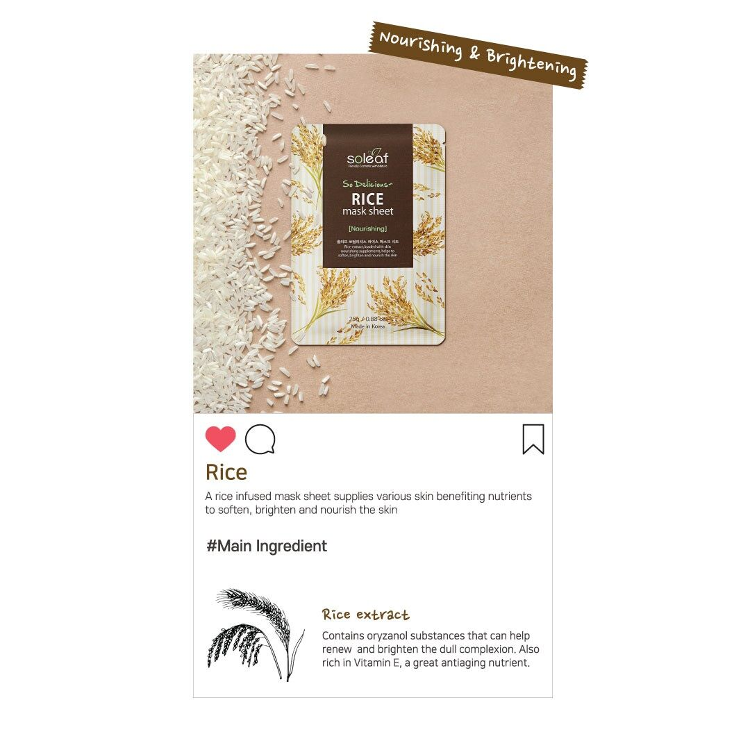 SOLEAF 3x25g So Delicious Rice Mask Sheet Gentle Mild Moisturizing Brightening Conditioning Nourishing Face Mask Korean Skincare Beauty Local Warehouse Ready Stock Original