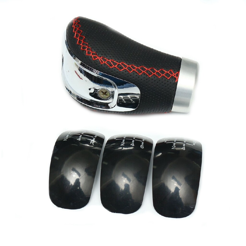 Steering, Seats & Gear Knobs - Black PU Leather Manual Car Gear Shift Knob Shifter Lever Handle Stick Universal - Car Replacement Parts