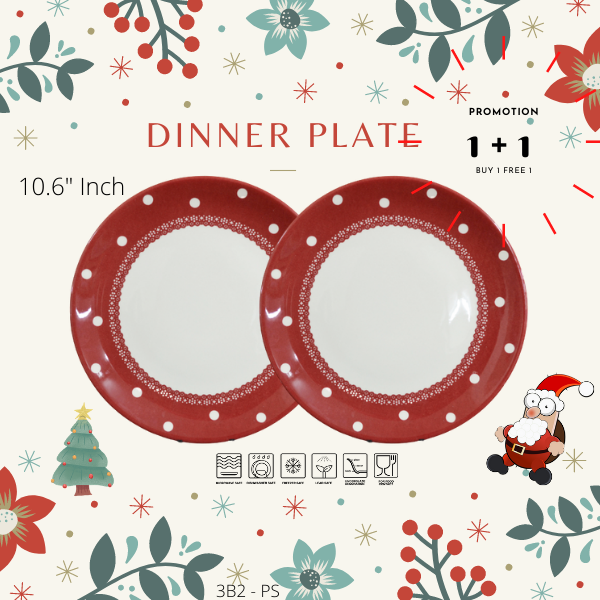 Buy 1 Free 1-Christmas Promotion-3B2PS-DOTS RED-Dinning set-Christmas Gift-1212Promo