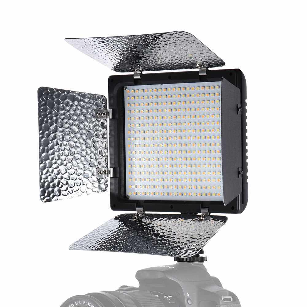 Andoer W368-? Dual Color Temperature LED Video Light 3200K-6000K Adjustable Brightness Photography Light 368 LED Continuous Light Panel with Camera Mount and Filters (Color1)
