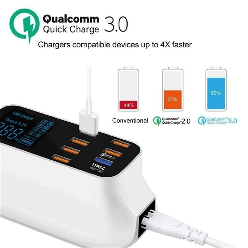 Chargers - 8-Port Smart USB Adapter Phone MP3/MP4 Charging LCD Display QC3.0 Fast Charger - UK / AU