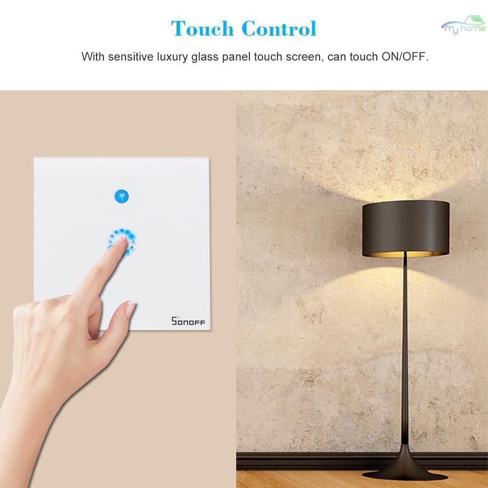 DIY Tools - T1 EU ITEAD 1 Gang Smart WiFi Wall Light Switch 433MHz RF/APP/Touch Control Timer EU Panel - WHITE-1CH