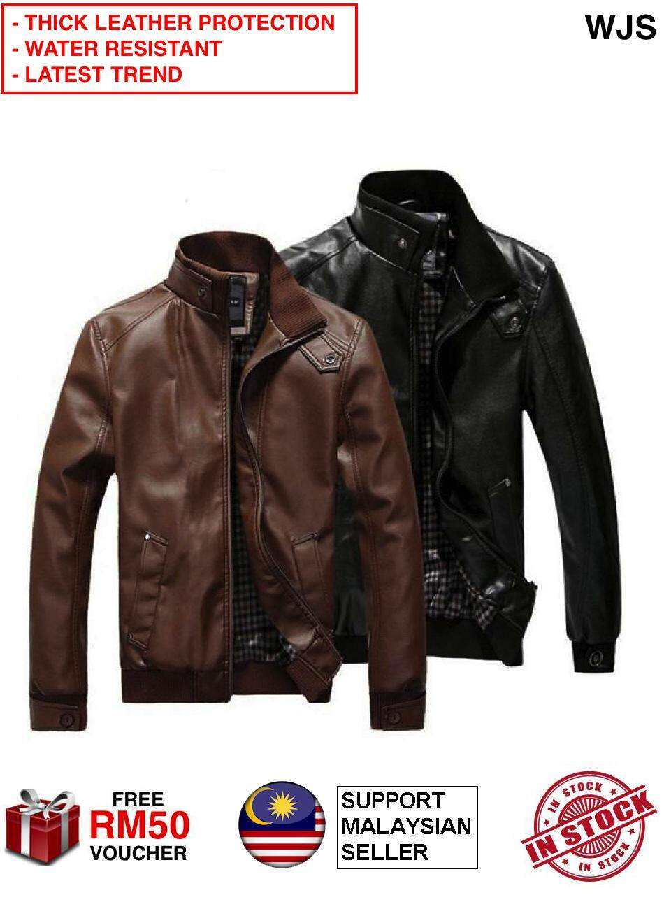 (THICK LEATHER PROTECTION) WJS Quality Fashion Man Leather Jacket Slimfit Motorcycle Leather Jacket Leather Coat Outwear for Mat Rempit Men Women Unisex BLACK BROWN MULTIPLE SIZES [FREE RM 50 VOUCHER]