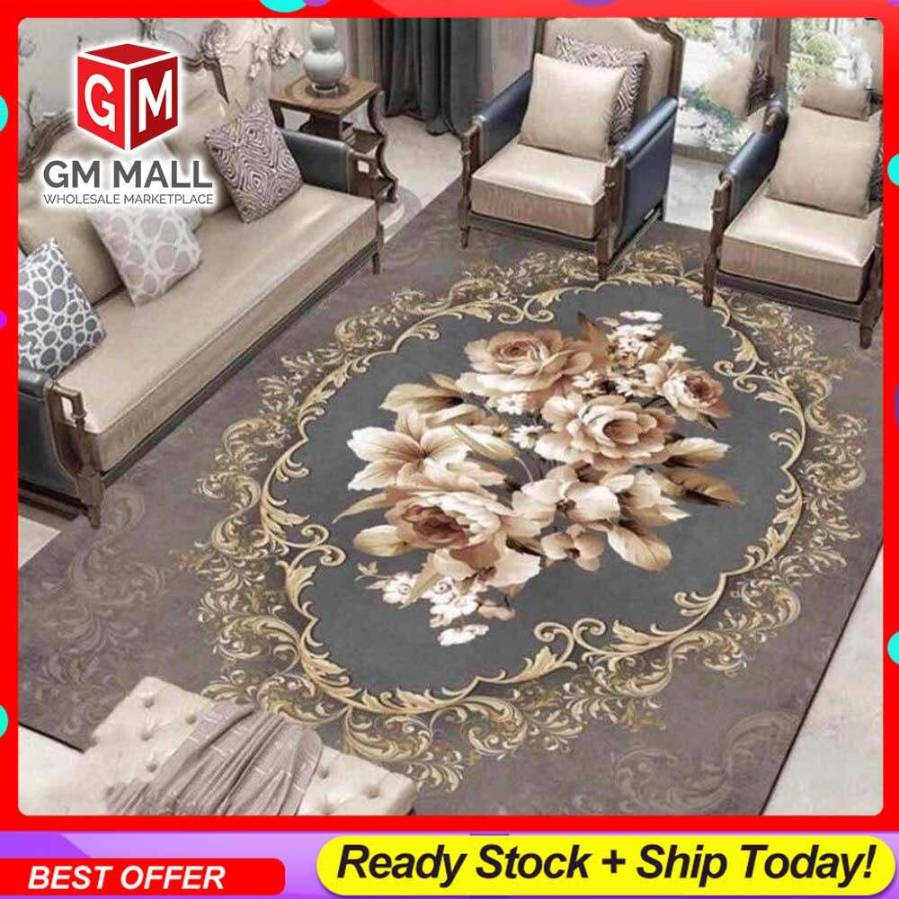 NEW DESIGN SIZE BESAR L/XL European Style Carpet Printed 3D Brown Vintage Mat Floor - Karpet Bercorak 3D Waterproof/Living Room/Bedroom Material Velvet