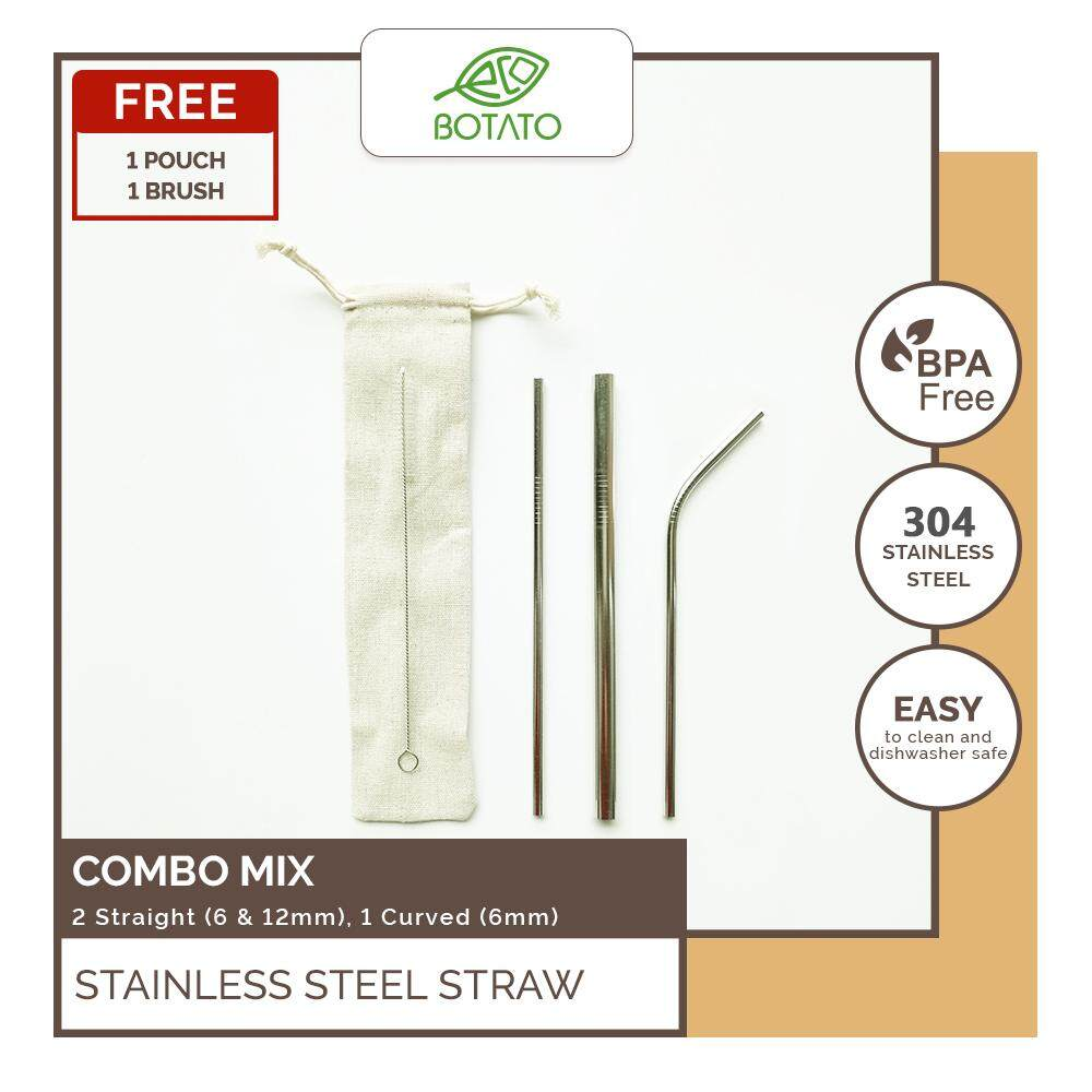 ([Ready Stock] Eco.Botato 304 STAINLESS STEEL STRAW SGS Food Grade Free Brush and Cotton Pouch, Wholesale Bulk Purchase, Reusable Drinking/Beverage Tumbler Metal: Straight, Bent/Curve Shape, Combo set Eco Friendly)