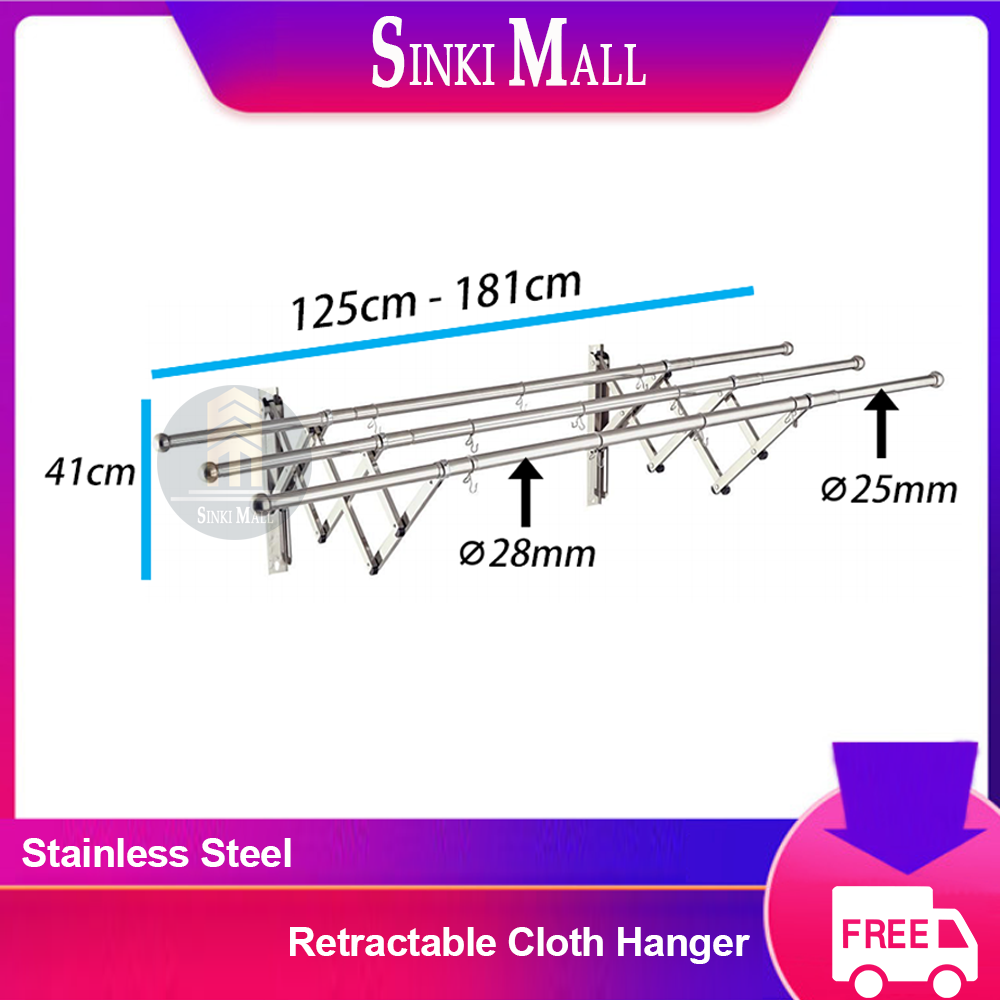 1.2M - 1.8M Anti Rust Stainless Steel Wall-Mount Retractable Drying Rack Cloth Hanger