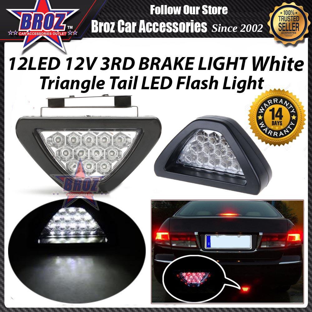 Led Brake Stop Light 12 LED Car Triangle Tail Light LED Flash Bulbs Lamp - White