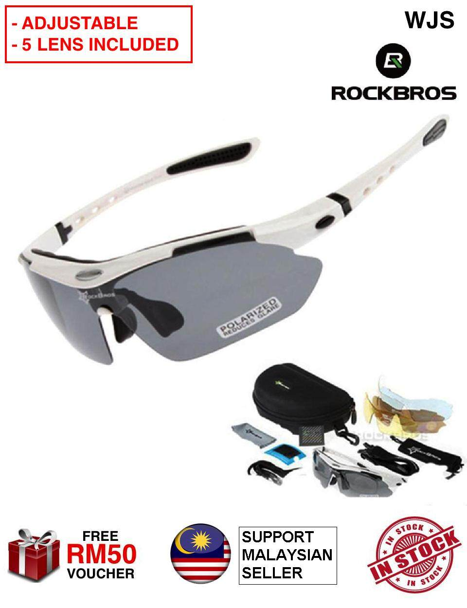 (5 IN 1 LENS) WJS RockBros Polarized Sports Men Sunglasses Sun Glass Spectacles Road Cycling Glasses Mountain Bike Bicycle Riding Protection Goggles Eyewear 5 Lens 2 Style BLACK RED WHITE GOLD [FREE RM 50 VOUCHER]