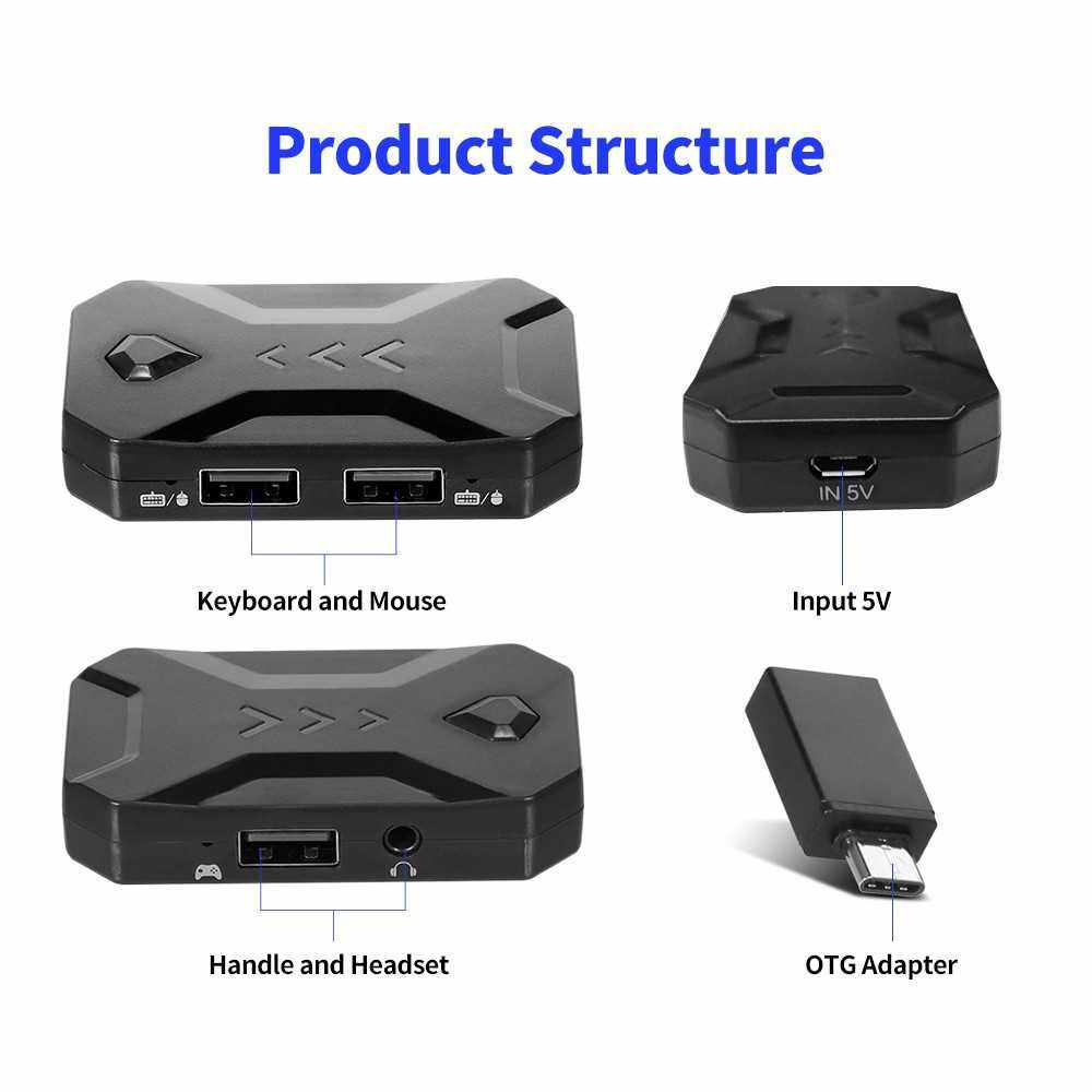 K1 Adapter USB Mobile Gaming Keyboard and Mouse Converter Replacement for N Switch/Xbox One/ PS4/ PS3 with Headset Function Black (Standard)