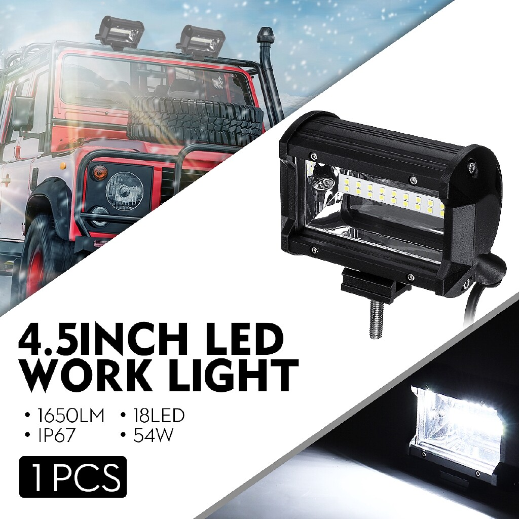 Car Lights - 4.5 Inch 54W 18 LED Work Light Bar Combo Driving White Lamp SUV Car UTV 4WD 4X4 - Replacement Parts