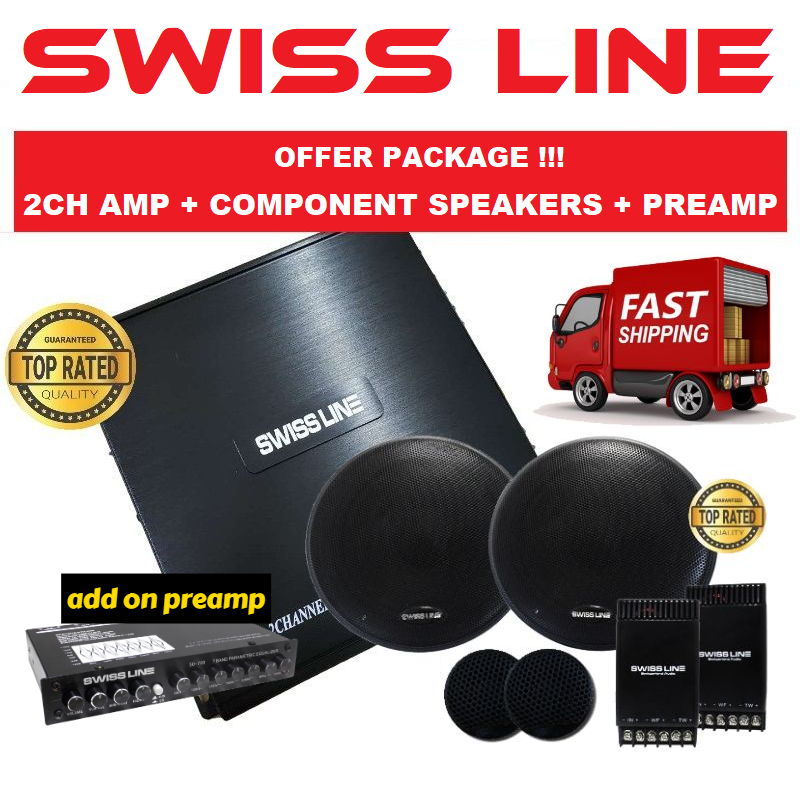 "SWISS LINE Package 2 Channel Car Power Amp + 6.5"" Mid-Bass Crossover Tweeter Component Set Car Speaker ADD ON Car Preamp"