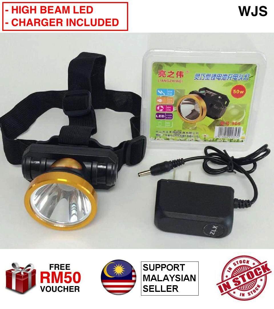 (HIGH BEAM LED) WJS Rechargeable 50W LED Headlamp Strong Power Charging Headlight Flashlight Hunting Head Light Torch Light Head Strap Flat Plug 220V [FREE RM 50 VOUCHER]
