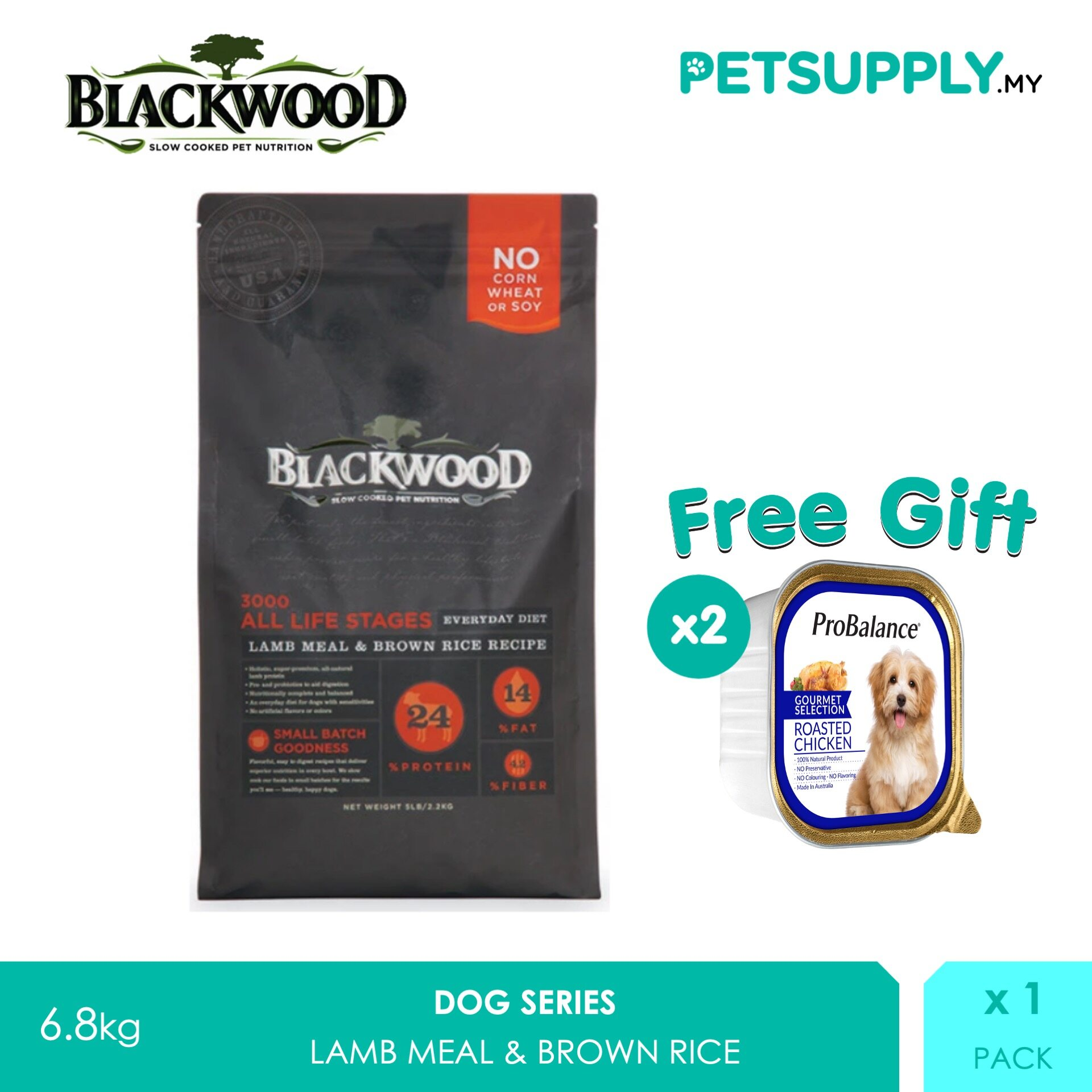 Buy 1 Free 2! Blackwood 3000 Dog All Life Stages Lamb Meal & Brown Rice Recipe 6.8kg [Dry Dog Food Treat Snack - Petsupply.my]