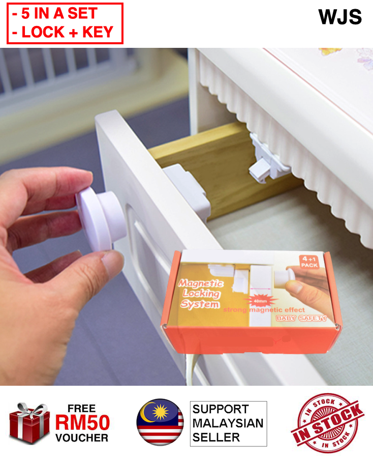 (4 LOCK + 1 KEYS) WJS 5pcs 5 pcs Baby Safety Magnetic Lock Cabinet With Key Child Safety Locks Baby Proofing Cabinets System Adhesive Magnet Drawer Lock No Drilling WHITE [FREE RM 50 VOUCHER]