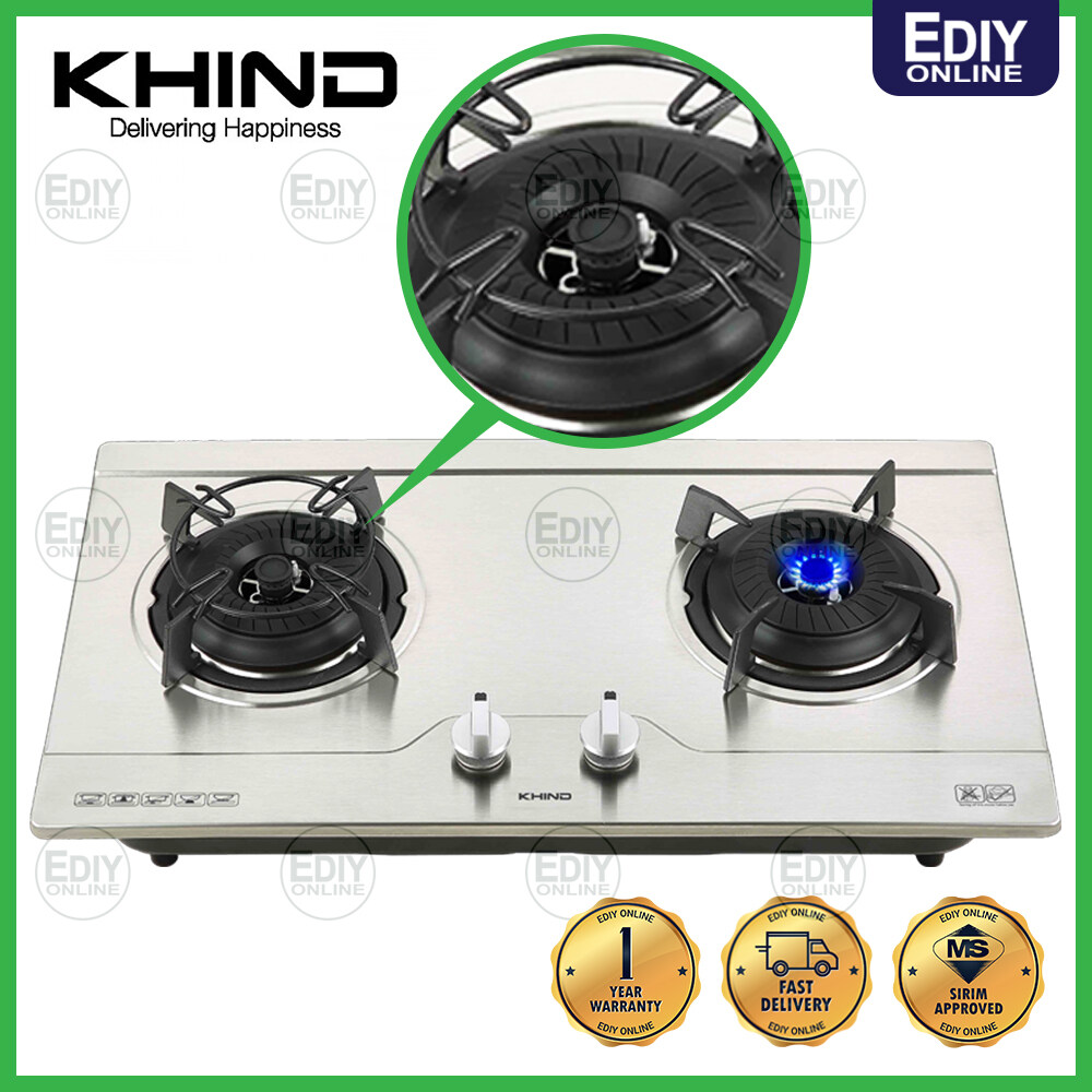 KHIND STAINLESS STEEL HOB HB802S2 HB-802S2 Gas Cooker Stove Dapur Gas
