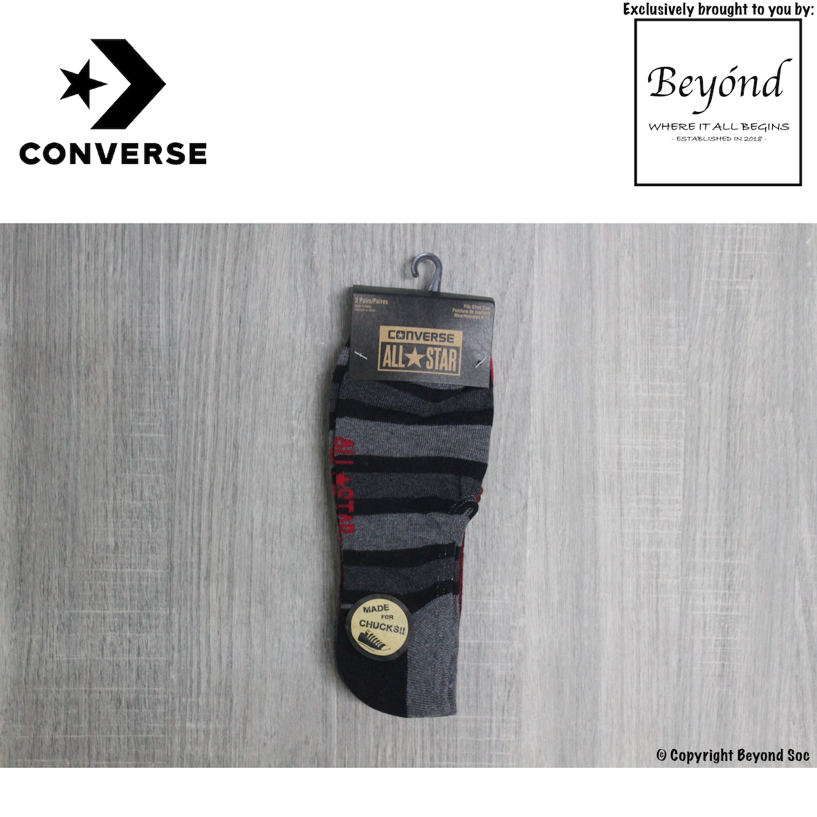 [3 Pairs] Converse Men's Strip Made For Chucks 3-Pack No Show Socks (Size: UK 6 - 10)