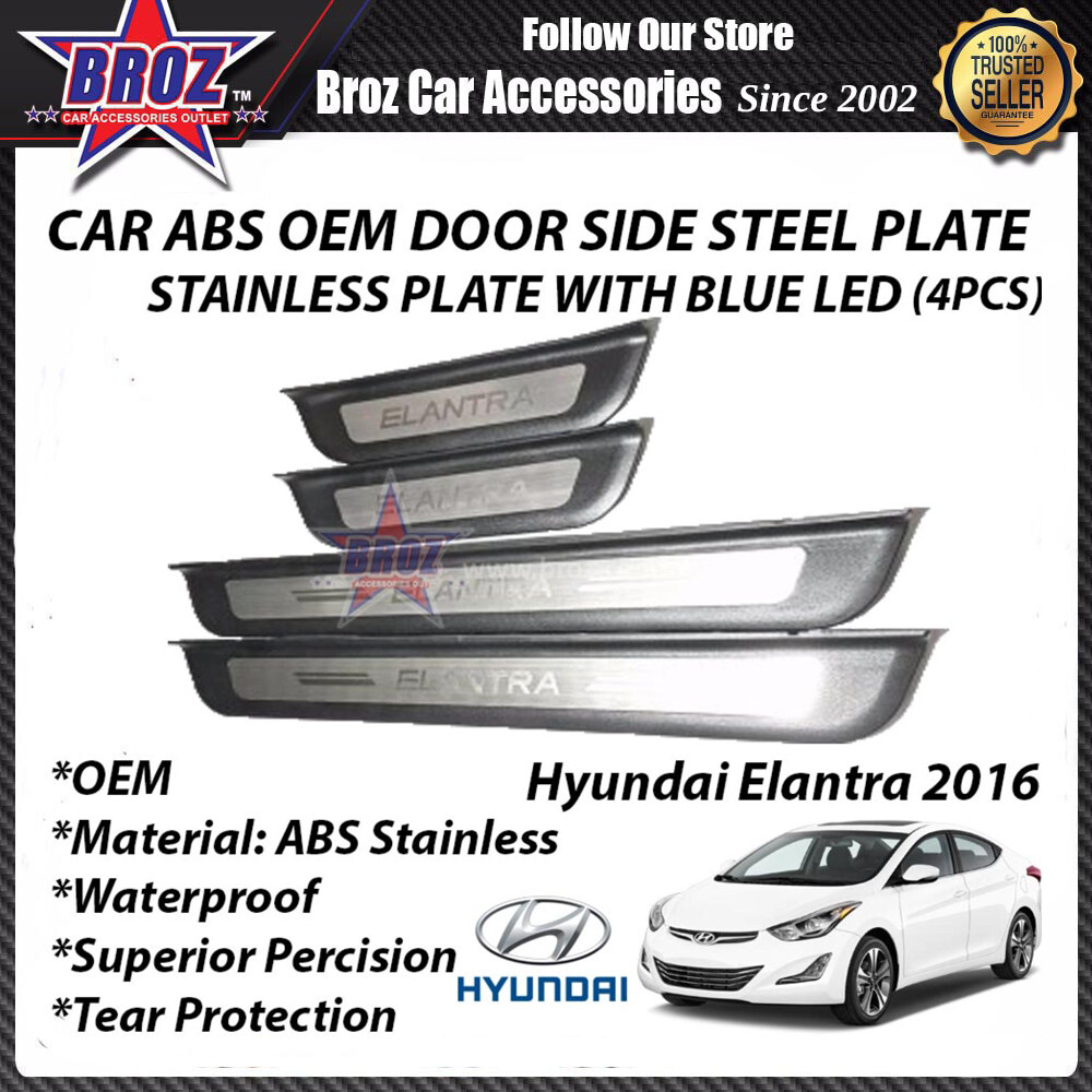 Hyundai Elantra 2014-2017 ABS Side Steel Plate/Door Side Step With Led (Blue)