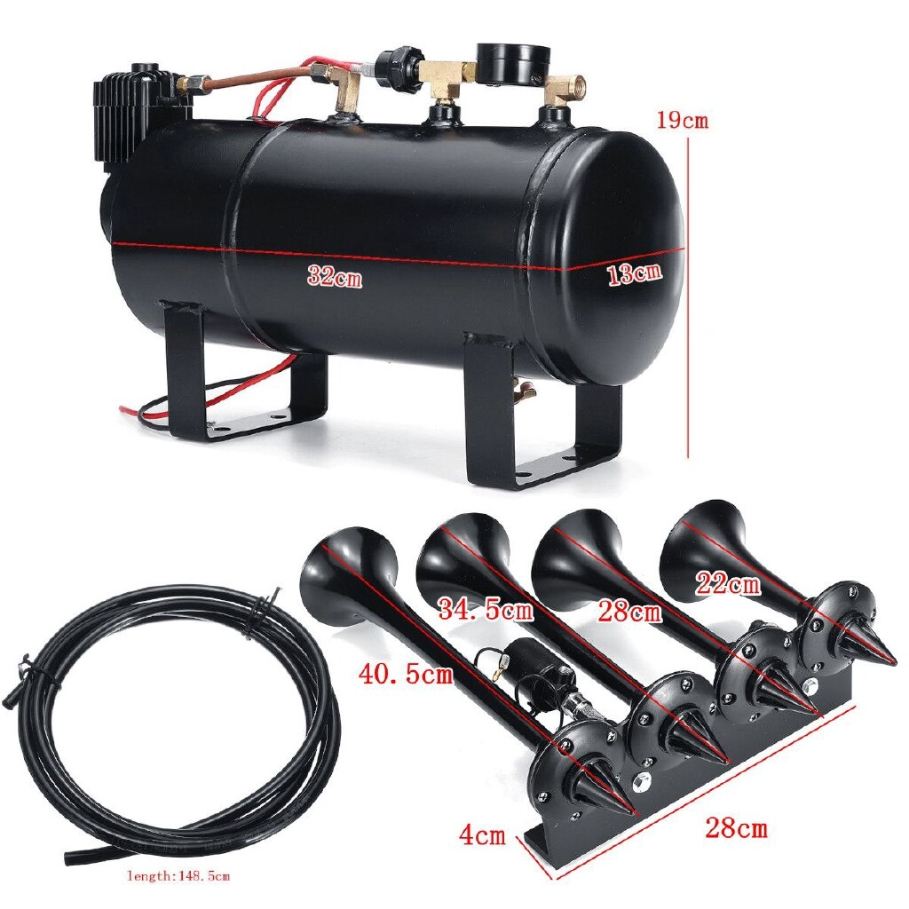 Vehicle Speakers & Subwoofers - 4 Trumpet Truck Train Air Horn Kit With Black 180 PSI 4 Liter Compressor System - Car Electronics