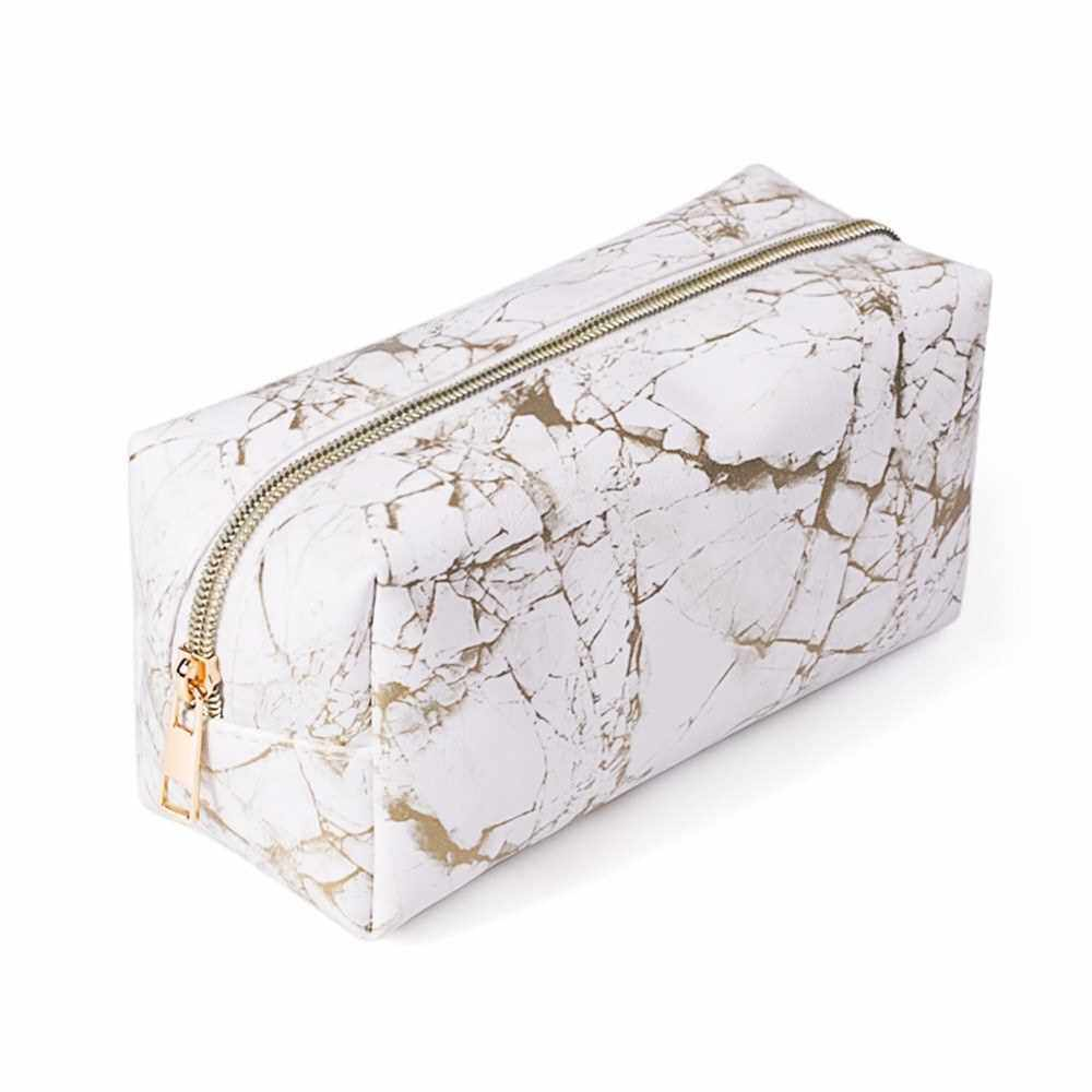 Marble Makeup Bag Portable Cosmetics Pouch Large Capacity Storage Case Travel Organizer (Gold)
