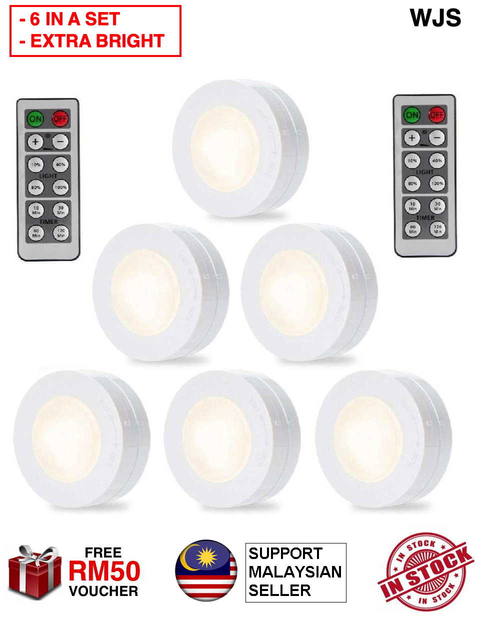 (6 IN A SET) WJS 6pcs 6 pcs Packed LED Puck Lights Remote Controlled Closet Lights Super Bright Under Cabinet Lighting Round Shape Dimmable Light LED Light Puck Light Lampu LED Wardrobe LED Remote Control Light COOL WHITE WARM WHITE [FREE RM 50 VOUCHER]