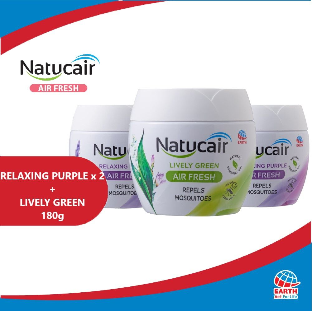 Natucair Air Fresh Mosquito Repellent Gel Assorted Variants Bundle of 3 [180g x3]EHB000013g