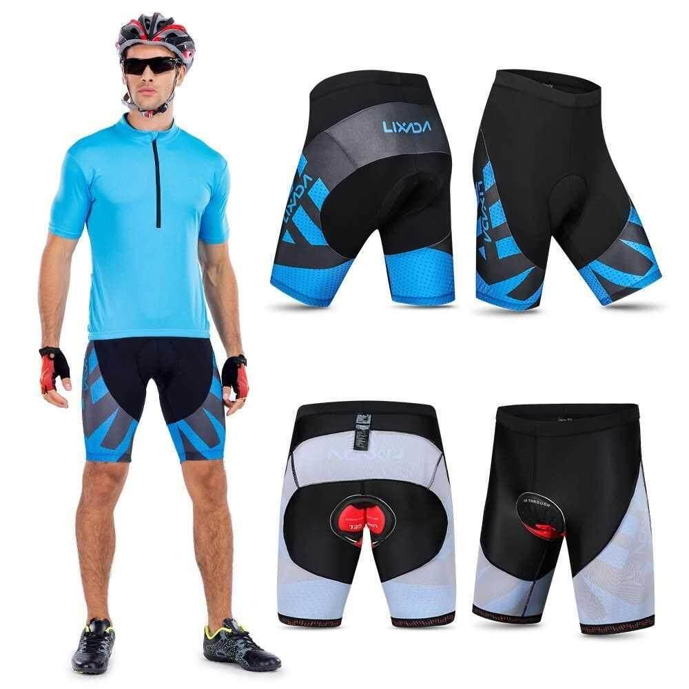 Lixada Men's Cycling Shorts 4D Gel Padded Bicycle Riding Half Pants Bike Biking Tights (blue)