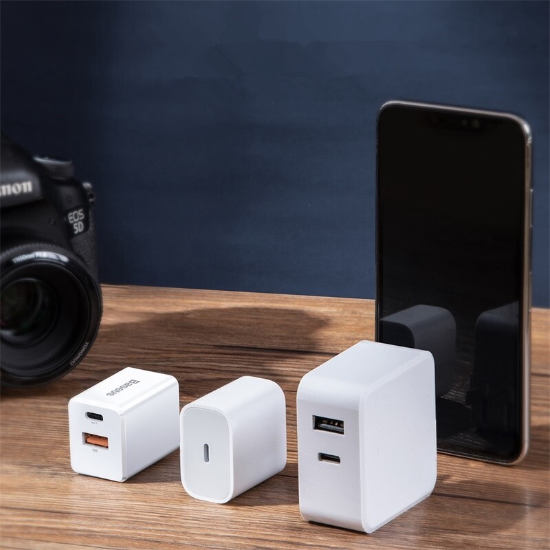 Chargers - Baseus PD3.0 + QC3.0 Traveler PPS USB-C 18W Charger for Samsung Xiaomi Huawei - Cables
