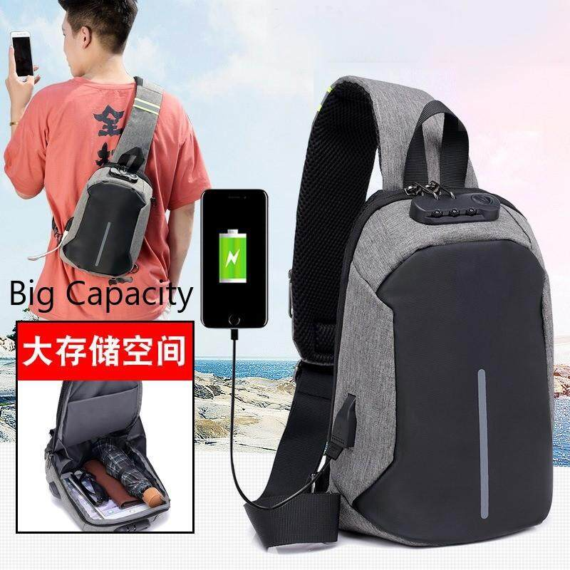 [M'sia Warehouse Direct] 2020 Korean Series Water Resistant Men's Canvas Chest Bag Cross Body Sling Bag Multifunction Casual Shoulder Pouch Back pack Lightweight Travel Bag Can Fit Iphone Any Android Mobile Best Gift For Love One USB Port
