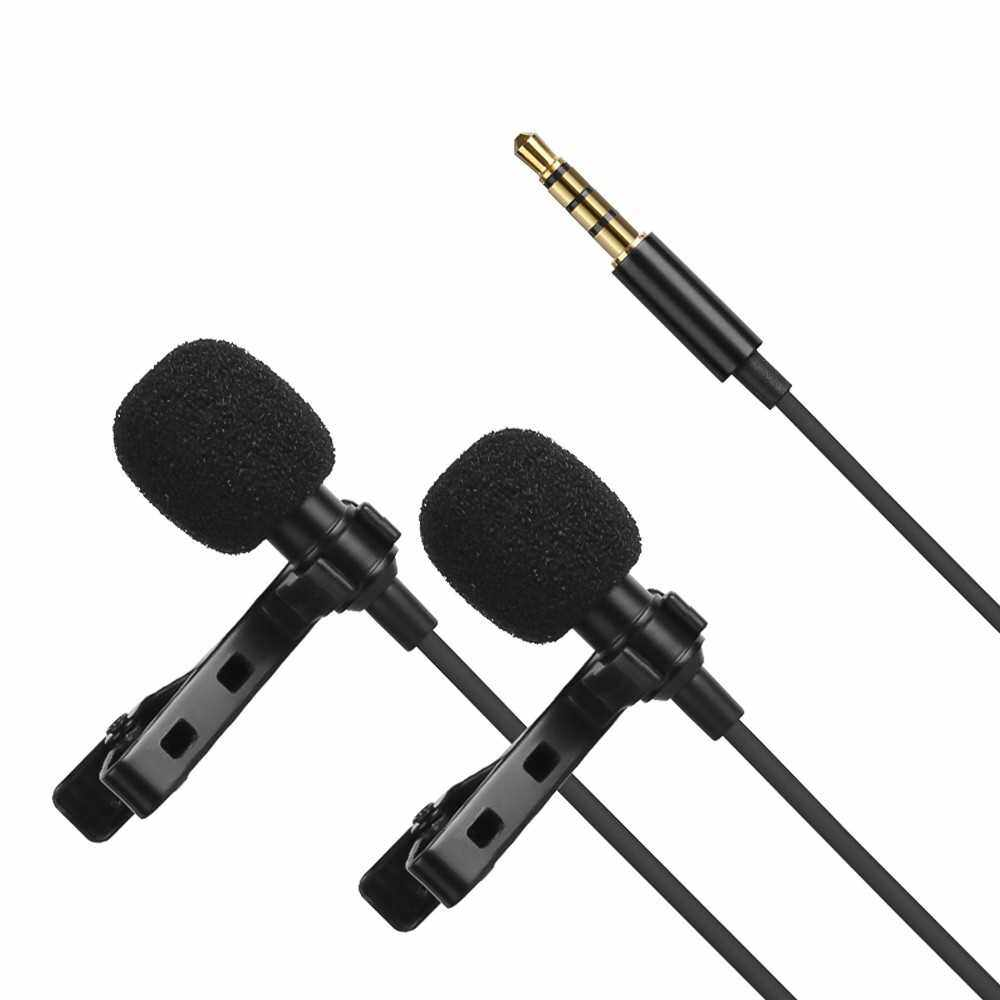 Best Selling Omni-directional Electret Condenser Lavalier Microphone Dual Head with 3.5mm TRRS 4m Cable (Standard)